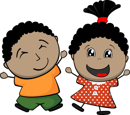 afro american happy children isolated on white background