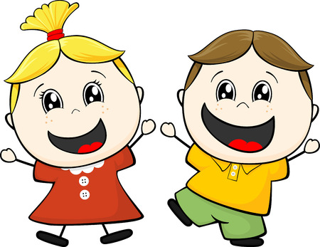 cartoon illustration of two happy little childs isolated on white background