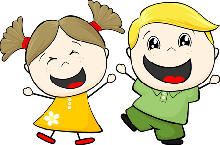 child's: cartoon illustration of two happy little childs isolated on white background
