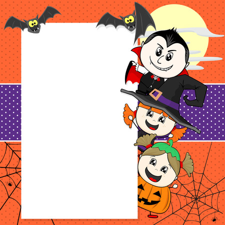 little childs with halloween costumes with bats and blank board for your text Illustration