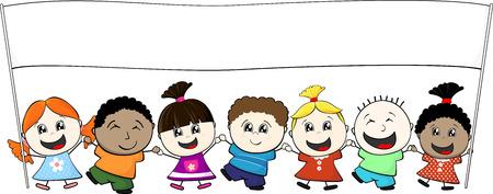 multi-etnische kleine kinderen hand banner geïsoleerd op witte achtergrond