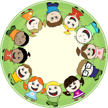 little girl cartoon: multiethnic little childs together in circle frame with copy space