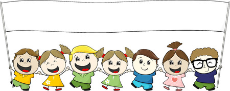 children holding hands: little children with blank banner isolated on white background