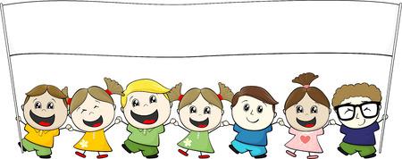 niños con pancarta: Pequeños niños con la bandera en blanco sobre fondo blanco