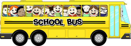 art school: yellow school bus with happy childs isolated on white background