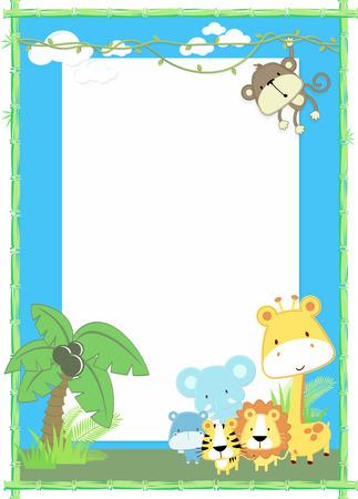 귀여운 정글 아기 동물 정글 식물과 대나무 프레임