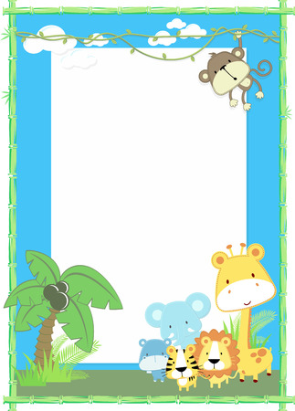 cute jungle baby animals jungle plants and bamboo frame Vettoriali