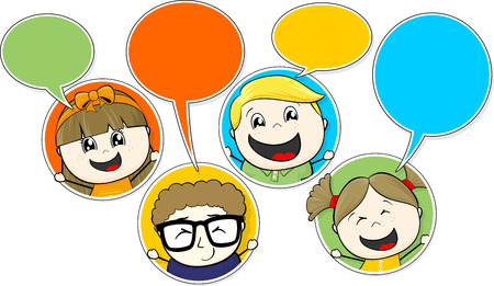 little childs chatting vector illustration of communication concept isolated on white background Vector