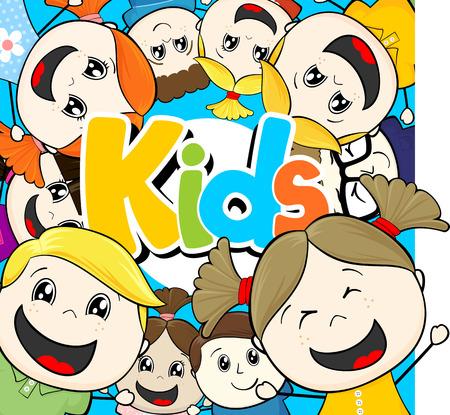 child's: cartoon illustration group of little happy childs