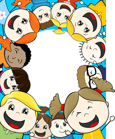 child's: cartoon illustration group of happy childs framing copy space