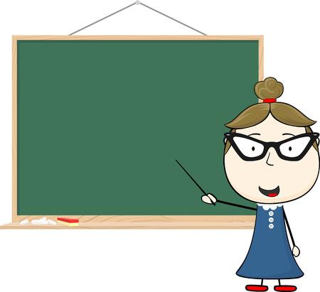 cartoon illustration of teacher and chalkboard isolated on white background Illusztráció