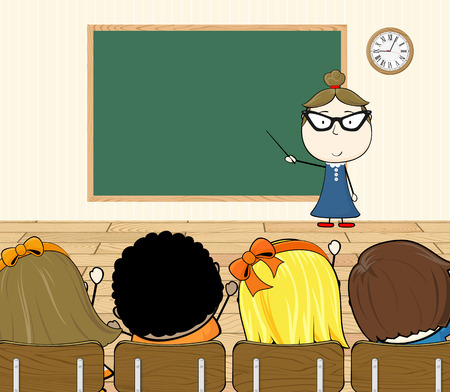cartoon illustration of teacher and students in classroom Vector