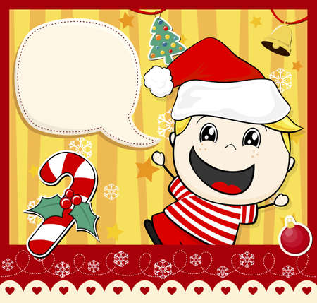 cute little kid with dialog bubble text and christmas decoration Vector