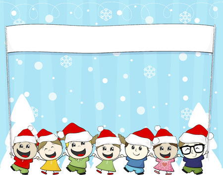 little children with santa hat and blank banner isolated on white background Vector