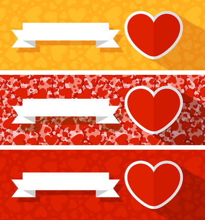love hearts banner collection for valentines card with blank board for your text Ilustração