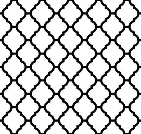 moroccan seamless pattern in black and white Vectores