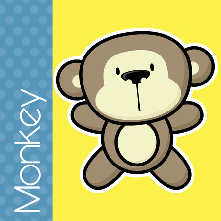 solid color: cute little baby monkey and text on solid color background with black and white outline for easy isolation