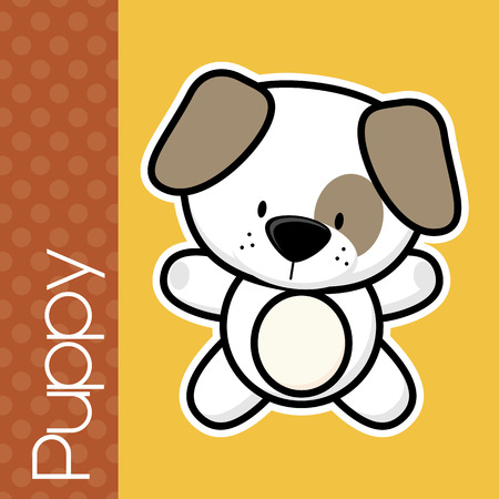 isolation: cute little baby puppy and text on solid color background with black and white outline for easy isolation Illustration