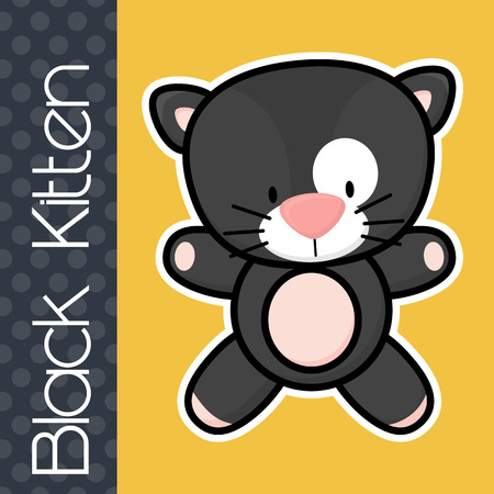 isolation: cute little baby black cat and text on solid color background with black and white outline for easy isolation