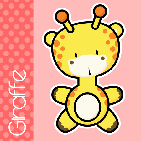 solid color: cute little baby giraffe and text on solid color background with black and white outline for easy isolation