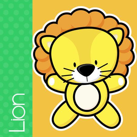 lion baby: carino leone bambino e il testo su sfondo di colore solido con contorno bianco e nero per un facile isolamento Vettoriali