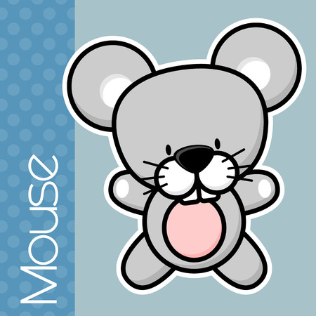 solid color: cute little baby mouse and text on solid color background with black and white outline for easy isolation