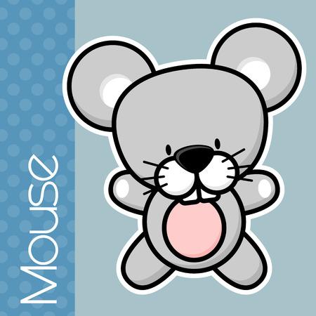 Mignon petit bébé souris et le texte sur fond de couleur solide avec un contour noir et blanc pour l'isolement facile Banque d'images - 36027320