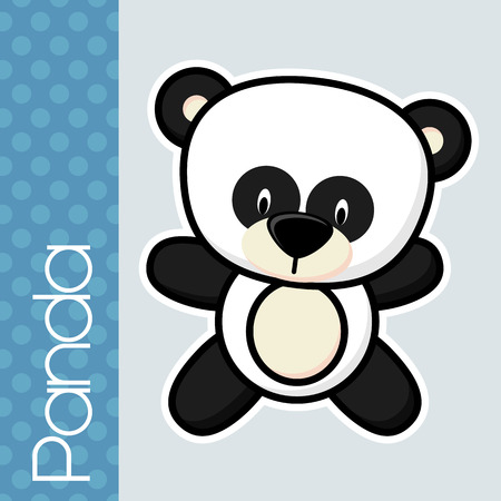 solid color: cute little baby panda and text on solid color background with black and white outline for easy isolation