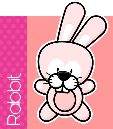 solid color: cute little baby rabbit and text on solid color background with black and white outline for easy isolation Illustration