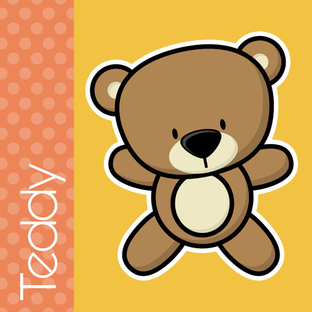 baby toy: cute little baby teddy bear and text on solid color background with black and white outline for easy isolation