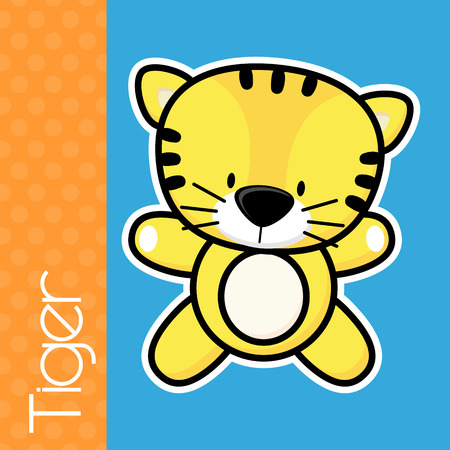 solid color: cute little baby tiger and text on solid color background with black and white outline for easy isolation