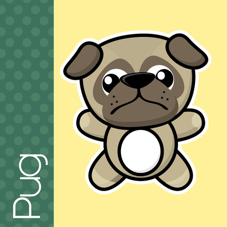 isolation: cute little baby pug and text in flat design on solid color background with black and white outline for easy isolation Illustration