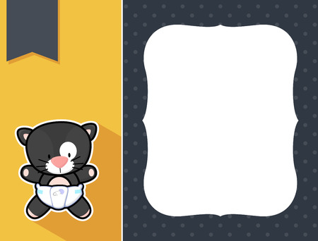 birth announcement: cute little baby black cat with diaper, black and white outline like a sticker and blank space for your birth announcement text, picture or invitation with decorative frame