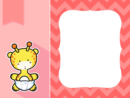 diaper: cute little baby giraffe with diaper, black and white outline like a sticker and blank space for your birth announcement text, picture or invitation with decorative frame