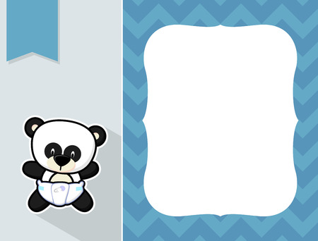 cute little baby panda with diaper and black and white outline like a sticker and blank space for your birth announcement text, picture or invitation with decorative frame Vector