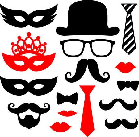 bowler hat: set of black mustaches,lips and silhouettes design elements for party props isolated on white background Illustration
