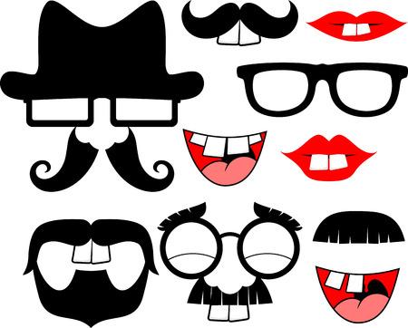 dientes: conjunto de bigotes negros y los labios con los dientes delanteros grandes de objetos graciosos partido aislados en el fondo blanco