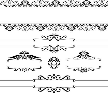 decorative blank banners and vintage design elements isolated on white background