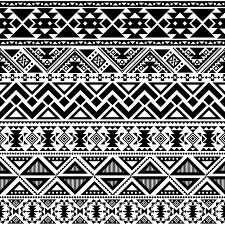 abstract geometric seamless pattern, ethnic style in black and white