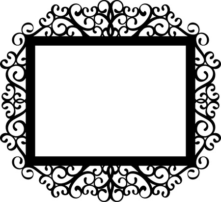 decorative frame silhouette in black isolated on white background, ideal for your invitations designs or laser cut projects Çizim