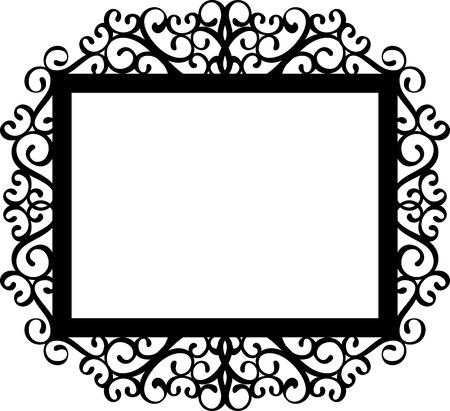 Silueta marco decorativo en negro sobre fondo blanco, ideal para sus invitaciones diseños o proyectos de corte por láser Foto de archivo - 41333842