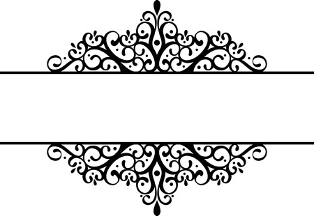 scroll border: decorative vignette silhouette in black isolated on white background