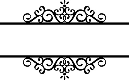 vintage scroll: decorative vignette silhouette in black isolated on white background