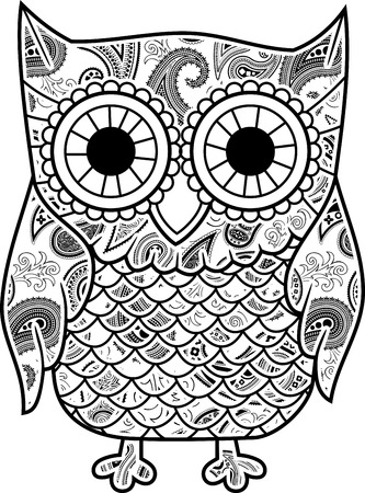 owl illustration: abstract decorative owl with paisley pattern isolated on white background