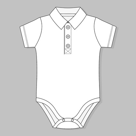 garment: front button placket collar baby bodysuit flat sketch template isolated on grey background