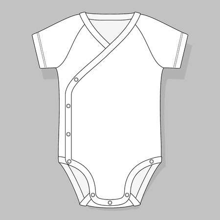 raglan: crossover raglan baby bodysuit flat sketch template isolated on grey background Illustration