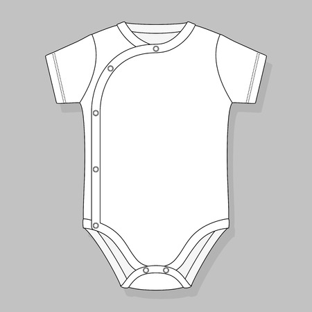 crossover: crossover baby bodysuit flat sketch template isolated on grey background Illustration