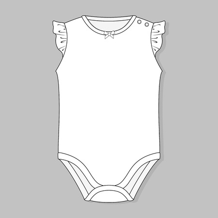 baby girl bodysuit flat sketch template isolated on grey background Illustration