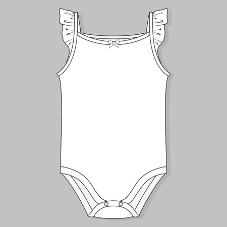 bodysuit: baby girl one piece flat sketch template isolated on grey background Illustration