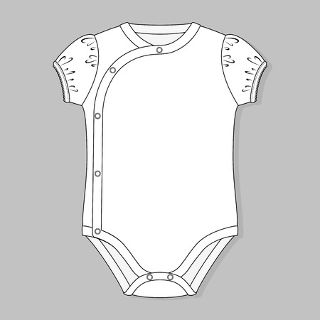 bodysuit: crossover baby girl bodysuit flat sketch template isolated on grey background Illustration